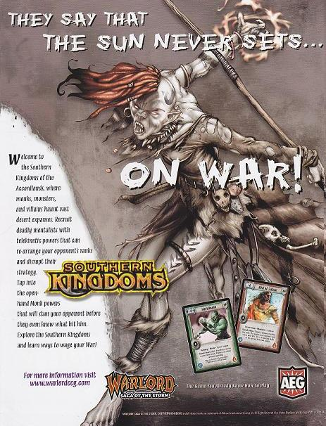 Warlord CCG Warlord Saga of the Storm Southern Kingdoms Advertise Pub